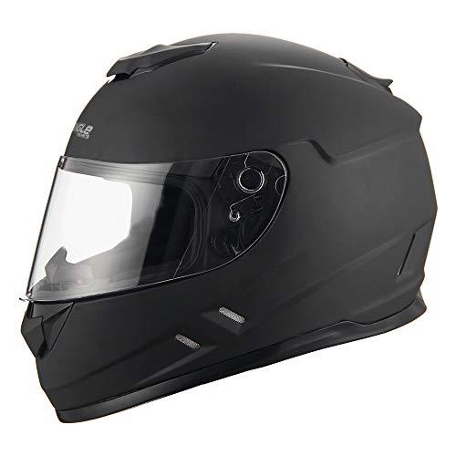 Triangle Full Face Lightweight, Aerodynamic, Comfortable Street Bike Motorcycle Helmets DOT Approved (Matte Black, Large)