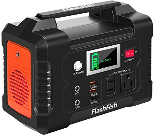 200W Portable Power Station, FlashFish 40800mAh Solar Generator with 110V AC Outlet/2 DC Ports/3 USB Ports, Backup Battery Pack Power Supply for CPAP Outdoor Adventure Load Trip Camping Emergency.