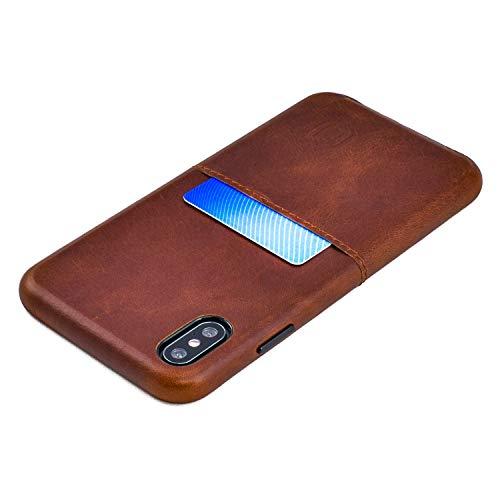 Dockem Funda tipo cartera para iPhone Xs Max Virtuosa M1 (6,5 pulgadas): placa de metal integrada para montaje magnético con cuero auténtico de grano superior: Serie M [marrón]