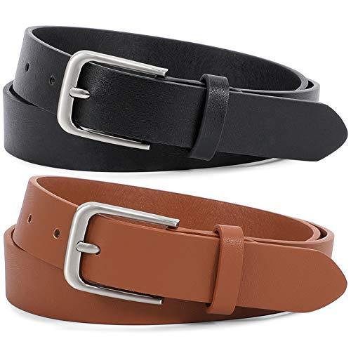 JasGood 2 Stück Ledergürtel für Damen und Herren, Mode Klassischer Style Gürtel 2.7 cm breit, Schwarz oder Braun