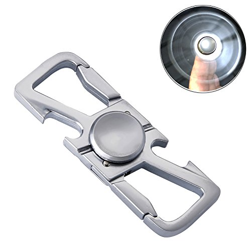 Drvaiky Key chain with (2 Key Rings and Gift Box) Bottle Opener Car Key Chain for Men and Women (Hand Spinner) (C-Silver)