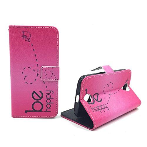 König Design Handyhülle Kompatibel mit Wiko Lenny 2 Handytasche Schutzhülle Tasche Flip Hülle mit Kreditkartenfächern - Be Happy Design Pink