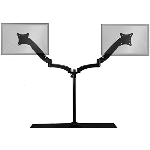 HomeConcept DE122BK Sit-Stand Monitor Extended Dual Air-Assist Arms, Black
