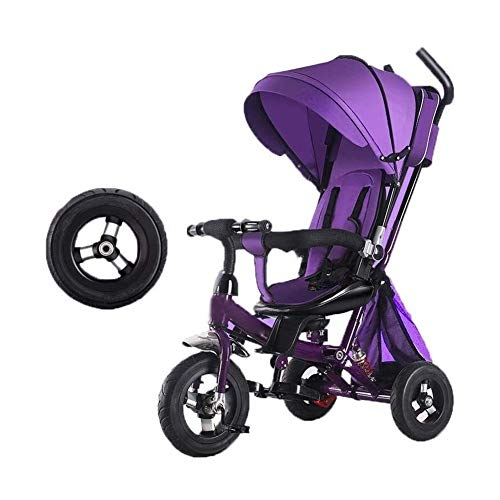 Children Tricycle Kid Trike Kids' Trikes Pedal Cars Children's Tricycle For 3-6 Year Old Boys Girls Non-slip Pedal Toddler Scooters Pushchairs ,Rear Basket,Silent Foam Wheel ( Color : Purple )