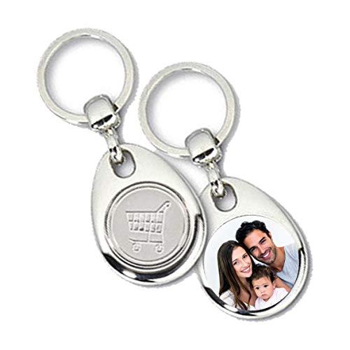 Tassenliebe® - Personalisierter Schlüsselanhänger mit Foto und Einkaufschip, Fotogeschenk, Metall Anhänger für Schlüsselbund, Auto, Motorrad, Silber,...