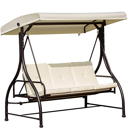Outsunny 3 Seater Canopy Swing Chair Porch Hammock Heavy Duty 2 in 1 Garden Bench Lounger Bed with Metal Frame - White