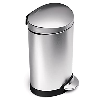 simplehuman 6 Liter/1.6 Gallon Stainless Steel Compact Semi-Round Bathroom Step Trash Can, Brushed Stainless Steel