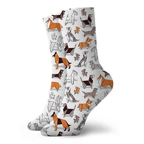 Tommy Warren Calcetines Hasta La Pantorrilla,Origami Perrito Amigos Sobre Fondo Blanco Papel Chihuahuas Dachs,Calcetines Cortos Suaves Y Cómodos Calcetines Deportivos