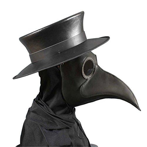 Dreamworldeu Schnabelmaske Pest Doktor Vogel Maske Lange Nase Steampunk Kunstleder Schnabelmaske Kopfmaske für Halloween Fasching Karneval Kostüm Requisiten