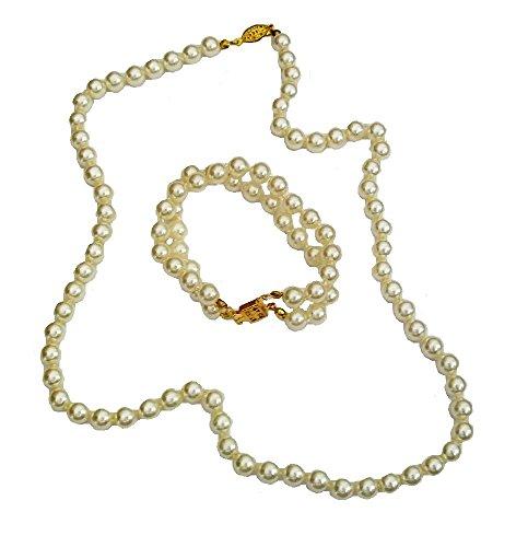 Fashionjewellery4u - Set di collane da donna con perle color crema, per damigella d'onore, per feste in maschera, regalo per donne e ragazze