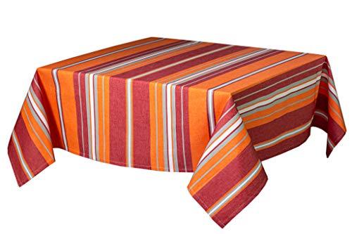 L'Océane Nappe Basque tissée 100% Coton d'Egypte en enduite ou Anti-tâches de Couleur Orange/Rouge Collection Corail (1m40 x 2m50, Orange/Rouge Anti-tâches)