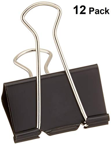 1InTheOffice Large Metal Binder Clips, Black, 2' Size with 1' Capacity -12 Clips (Large)