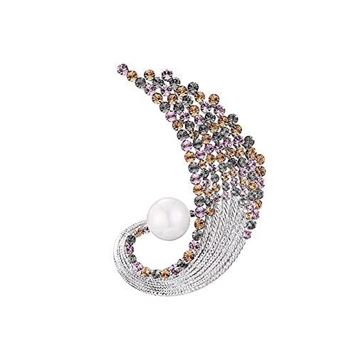 Tingting1992 Alfileres de Broche Delicadas broches de Perlas Cristal Broche de Solapa para Chaqueta Vestido de Bufanda o chales Novia Broches (Color : B)