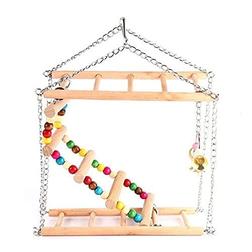 WFSH Juguetes para pájaros 1pcs Loro Parque Infantil con Escalera de 23 * 7 * 36cm Loro Jaula de Ardilla Juguete Hamster Ardilla Bird Nest Hamaca Columpio Escalera (Color : As The Picture)