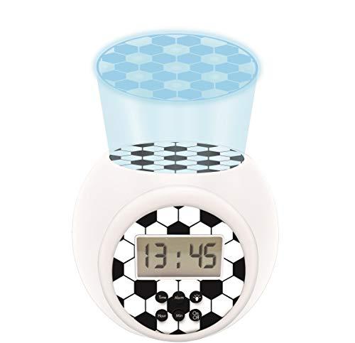 Lexibook RL977FO Projector-Wecker Fußball mit Schlummerfunktion und Weckfunktion, Nachtlicht mit Timer, LCD-Bildschirm, Batteriebetrieb, weiß/schwarz