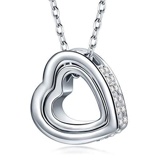 Kami Idea Geschenke für Frauen Muttertagsgeschenk Herzkette Kette Damen Halsketten für Frauen Halskette Damen Freundschaftskette Kette Silber Silberkette Kette Mit Gravur Geschenke für Mama