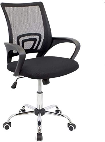 silla de Oficina giratoria con Respaldo Transpirable, Oficina ergonómica Negra,