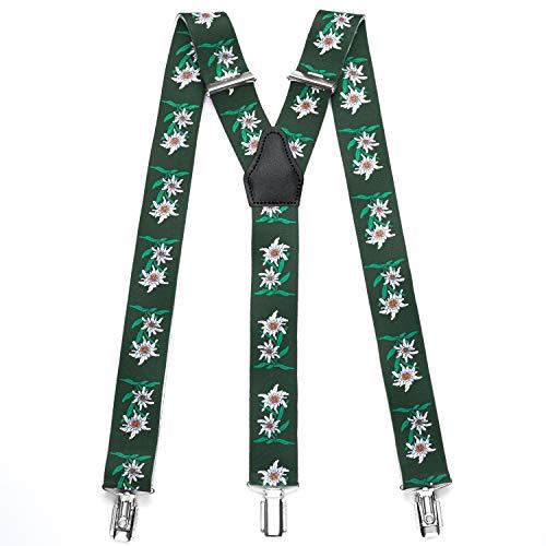 Sencillo Trachten Hosenträger Edelweiß mit Starken Clips Y-Form, Grün, 110 cm lang und 3,5 cm breit