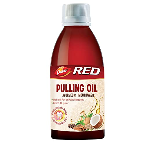 Dabur Red Pulling Oil : Ayurvedic Mouthwash Kavala Gandusha Therapy   Oral Detox for Teeth and Gums, Pack Of 1