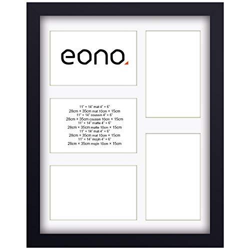 Eono by Amazon - 28x35 cm collage uit fotolijst 5 frames voor 10x15 cm foto's met passe-partout gemaakt van hardhout met glas