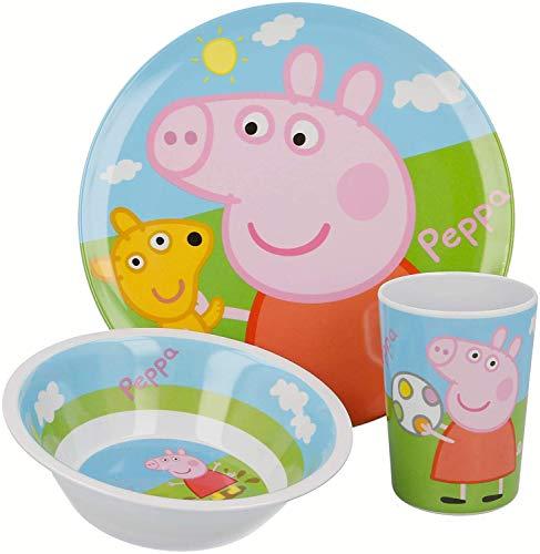 ALMACENESADAN 2630; vajilla Reutilizable Peppa Pig; Compuesto por Vaso; Plato y Cuenco;...