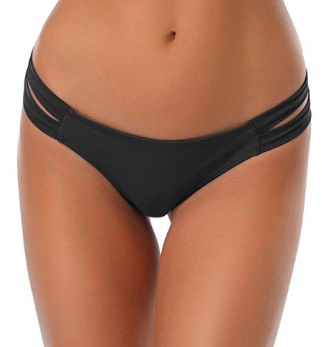 SHEKINI Damen Niedrige Taille Bikini Bottom Bademode Tanga Bikinihose Chic Aushöhlen Brazilian Bikini Slip (S,Schwarz)