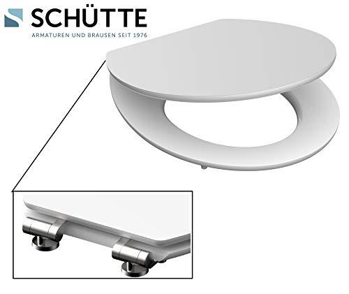 SCHÜTTE 80500 HG WC Sitz, Klobrille aus Holz mit Absenkautomatik, Toilettendeckel mit Edelstahlscharnieren, Toilettensitz bis 175 kg belastbar, Weiß, High_Gloss_White