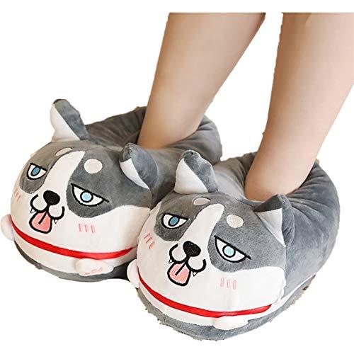 CNZXCO Bunny Hausschuhe Full-Wrap Heel Cute Plüsch Husky-Hunde-Hausschuhe, Flip-Flops weiche gemütliche Flauschige Rutsche für Hausaktivitäten, Fernsehen, Schlafzimmer, Garten, Garten im Freien