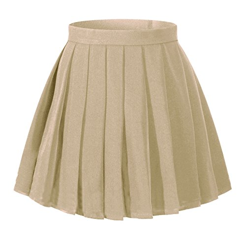 Beautifulfashionlife Women`s Pleated Solid A line Short School Uniform Skirts(L,Khaki)