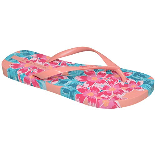 Ipanema Love Floral Damen Sommer Flip Flops, aus Flexpand ein 100% veganes und recycelbares Material, ideal für Strand, Schwimmbad und für Sommerspaziergänge - hellblau/rosa Farbe - 41/42