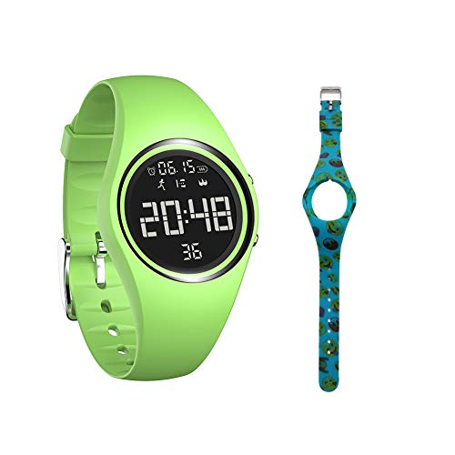 mijiaowatch Non-Bluetooth Pedometer Watch Walking Pedometer Watch Step Calories Counter with Vibration Alarm for Sports Running Kids Men Women IP68 Swim Waterproof No APP Need (Green)