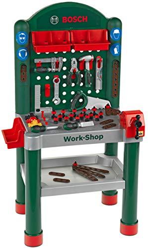 Theo Klein 8320 Bosch Workshop I 79-teilig|Arbeitsplatte mit Lernfunktion I Maße: 50 cm 37 cm 102 cm I Spielzeug für Kinder ab 3 Jahren