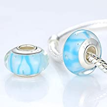 Silver Color Blue Water Drop Murano Glass Beads Fit Bracelet & Necklace Bangle Authentic Accessories