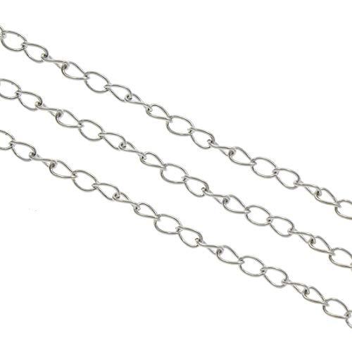Perlin - 9 Meter Gliederkette Link Kette Metallkette Twist Panzerkette 5,5mm Silber, Gold, Kupfer, Altsilber Schmuckkette Meterware zur Schmuckherstellung (Altsilber)