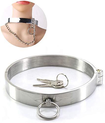 DIOH Luxury Halsreif Halsband SM Bondage Spielzeug Halsbänder Damen Silber - Fetisch Necklace Choker für Paare(Schloss Ø Schlüssel) (Size : S: 11.6CM)