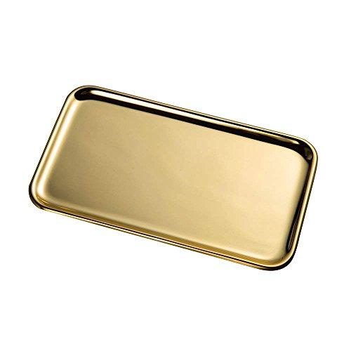 IMEEA Kleine Rechteckig Serviertablett für Küche Badezimmer SUS304 Edelstahl (8 x 4,5 inch) (Gold)