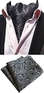 MOHSLEE Men Silver Paisley Jacquard Woven Self Cravat Tie Ascot handkerchief Set