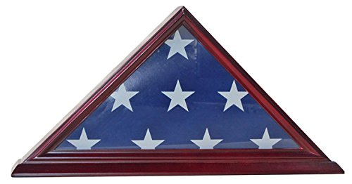 4 X 6 Flag Display Case Flag Holder Storage Shadow Box Frame (NOT for Burial Flag Size), Solid Wood, CHERRY Finish (FC03-CH)