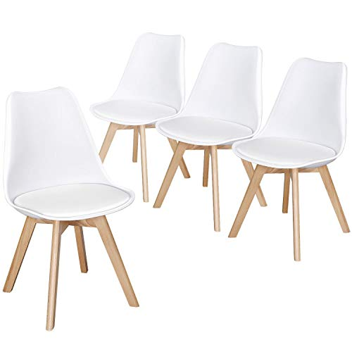 Yaheetech 4pcs Dining Chairs Beech Wooden Legs Retro Lounge Side Chairs w/Soft PU Leather Upholstered Seat Cushioned Pad Kitchen/Cafe/Office White