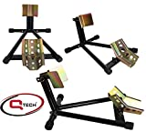Qtech Motorcycle Motorbike FRONT WHEEL CHOCK 12-19' wheels STAND Adjustable Paddock Garage Universal Fit with...