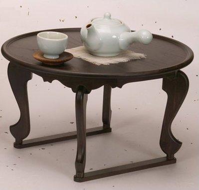 Table Basse Traditionnelle Coréenne Table à Thé Ronde Bois de Pin Naturel
