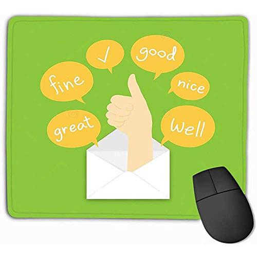 gestikte randen muismat, muismat je kreeg e-mail concept idee goede hand teken taal pop-up post tekst doos geïsoleerde groene kleur weinig rechthoek rubber muismat 25 x 30 cm