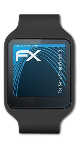 atFoliX Schutzfolie kompatibel mit Sony SmartWatch 3 Folie, ultraklare FX Bildschirmschutzfolie (3X)