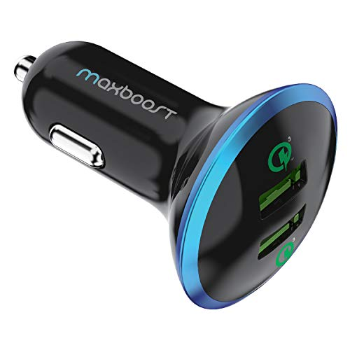 Maxboost Quick Charge 3.0 36W Dual USB Car Charger for Type C Phone - Galaxy S20 Ultra/S10/S10e/S9, Note 10 SmartUSB for iPhone 11 Pro Max/XS/XS Max/XR/X/8/SE/Plus, iPad Pro/Air 2/Mini, Pixel,LG,HTC