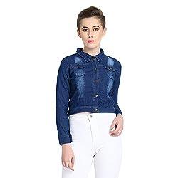 Cozami Full Sleeves Denim Blue Jacket for Women