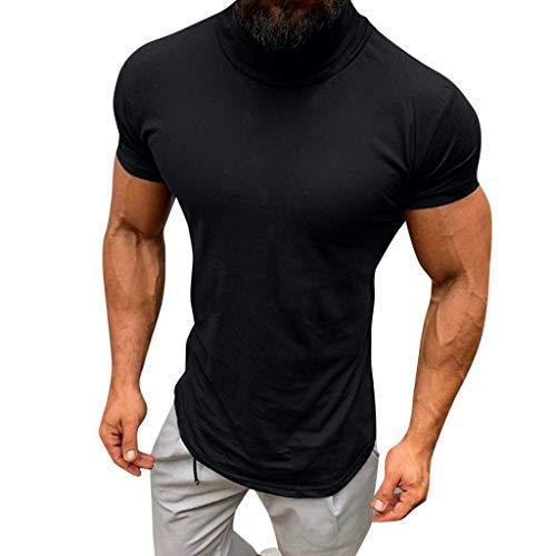 Price comparison product image Fheaven Men Short Sleeve Tops Casual Summer Solid Color Turtleneck Tops Blouse Shirts (L,  Black)