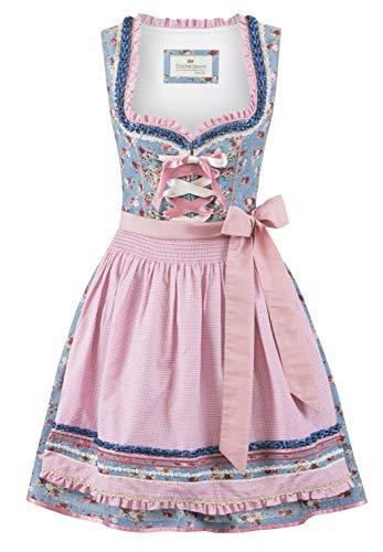 Stockerpoint Damen Dirndl Talita Kleid für besondere Anlässe, Rauchblau-Rose, 34