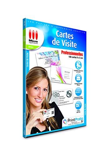 Carte de Visite Personnalisée - 100 Cartes Visites Professionnelles Vierges 9x5 cm, Imbrimables, Papier Cartonné 220g/m², Impressions - 5760 dpi, Compatible Imprimantes Jet d'Encre - Micro Application
