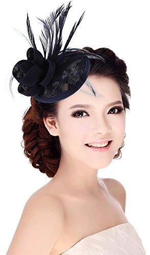 La Vogue Chapeau Bibi Femme pour Mariage Cérémonie Soirée Décoration Fleur Plume Marine