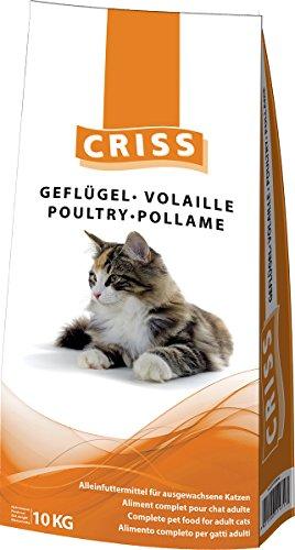 CRISS POLLAME 10 kg - Croccantini per Gatti Adulti - Made in Germany - Cibo Secco Gatto, mangime, alimento Completo, Alta qualità, 10000 gr